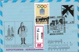 Greece Registered Aerogramme 1980 Moscow Olympic Games - Posted Afhnai Sint.1980 (G65-87) - Summer 1980: Moscow