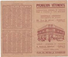 Calendrier : 1954 : PYGMALION VETEMENTS : ( Plan Du Métro - Paris ) à Volet - Calendriers