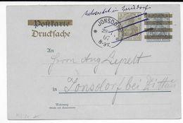 """GERMANIA - 1907 - CP ENTIER Mi.PZD2x DRUCKSACHE REPIQUAGE PRIVE AU DOS => JONSDORF Avec """"ENTWERTET (ANNULE) IN JONSDORF"""" - Duitsland"""