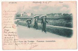 VIETNAM VUES DU TONKIN FEMMES ANNAMITES  HAIPHONG 1901 CACHET HANOI TONKIN ETAMPES SEINE ET OISE - Viêt-Nam