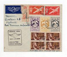 !!! AEF, LETTRE RECO PAR AVION DE BANGUI POUR DJIBOUTI DE 1943, CACHET FRANCE LIBRE 1ERE LIAISON AERIENNE - Covers & Documents