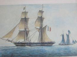 Lithographie Brick Corsaire Par Antoine Roux 1838 -18x28cm - Boten