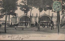 CPA 37 TOURS La Gare Prise De La Préfecture - N° 196 Grand Bazar, Voyagée, écriture Plume, Timbrée, 1903, DND - Tours