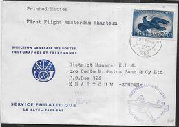 HOLLAND - FIRST FLIGHT-KLM - AMSTERDAM/KHARTOUM 24.IV.1956 SU BUSTA INTESTATA - Period 1949-1980 (Juliana)