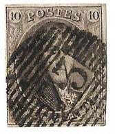 N° 10 Planche Oblitération 73  18 Barres De Liège Timbre 153 De La Planche (Nic 025) - 1851-1857 Medaglioni (6/8)