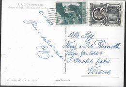 VATICANO - AFFRANCATURA CON COMMEMORATIVI PER LIRE 15 SU CARTOLINA PAPA GIOVANNI XXIII - 5.11.1958 PER VERONA - Vatican