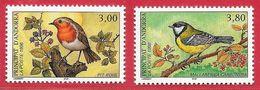 Oiseau Rouge-gorge Mésange Charbonnière - Andorre N°470 3F & 471 3F80 1996 ** - Uccelli Canterini Ed Arboricoli