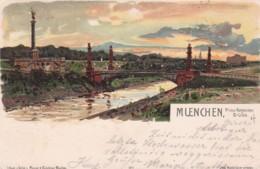 3728206Muenchen, Prinz Regenten Brücke (gestempelt 1899)(rechts Unten Falte) - Muenchen