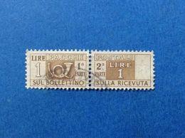 1947 ITALIA FRANCOBOLLO USATO ITALY STAMP USED SERVIZI PACCHI POSTALI 1 LIRE FILIGRANA RUOTA - 6. 1946-.. Repubblica