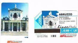 TELECOM ITALIA - C.& C. F3220   - LINEE D' ITALIA: ABRUZZO (SANTUARIO SAN GABRIELE, ISOLA DEL GRAN SASSO)    - USATA - Italia
