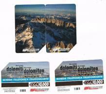 TELECOM ITALIA - C.& C. 2900.2901  - DOLOMITI: MARMOLADA BILINGUE AA (PUZZLE COMPLETO DI 2 SCHEDE)     - USATA - Italia