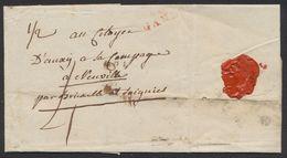 Précurseur - LAC Datée De Gand (1796) + Obl Linéaire Rouge 92 / GAND, 4 Sous Pour Le Poids De 1/2 Once > Neuville - 1794-1814 (Période Française)