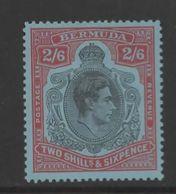 Bermuda GV1 2/6  Black And  Red /Pale Blue. SG 117d. Mounted Mint. - Bermuda