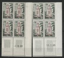 """N° 1238 Cote 10 € ** (MNH) 2 Coins Datés Du 13/7/60 Et Du 7/12/59 """"Tlemcen / Grande Mosquée"""" - 1960-1969"""