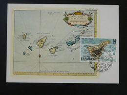 Carte Maximum Card Carte Iles Canaries Map Canarias Espagne Spain Dia Sel Sello 1982 - Cartes Maximum