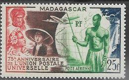 Madagascar  1949  Sc#C55  25fr UPU  Airmail  MLH  2016 Scott Value $4 - Madagascar (1889-1960)