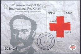MALTA - 150th Anniv. Of The International Red Cross - MI.NO.BL 57 - CV = 9 € - Henry Dunant