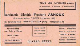 BUVARD  Imprimerie Librairie Papeterie ARNOUX  ( Anc. Gambin ) à PONT DE VAUX  01 Ain - Papeterie