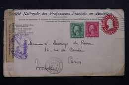 ETATS UNIS - Entier Postal Avec Repiquage + Compléments De New York Pour La France En 1915 Avec Contrôle Postal- L 63408 - 1901-20