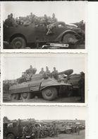 Militaria -  Peloton D'Auto-mitrailleuses Blindées Lot De 3 Photos 11.5 X 6.5 Cm - Matériel