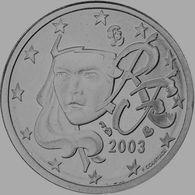 MONNAIE 2 Cent 2003 France   Euro Fautée Non Cuivrée Etat Superbe - Variétés Et Curiosités