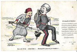 HUMOUR MILITAIRE GRIVOIS SATIRIQUE A LA BATAILLE DE CHARLEROI BELGIQUE TIRAILLEUR OFFICIER PRUSSIEN CACHET POSTAL MILITA - Humour
