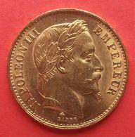 Napoléon III Tête Laurée . 20 Francs Or 1869 A - L. 20 Francs