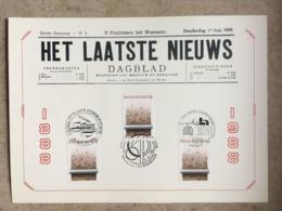 """2272 (3x Journal """"Het Laatste Niews"""") 3 Cachets Différents 12-12-1987 : Aalst - Diest - Brussel 1180 Bruxelles - Maximumkarten (MC)"""