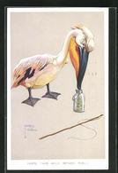 Künstler-AK Lawson Wood: Pelikan Will Die Stichlinge Im Glas Des Anglers Stibitzen - Wood, Lawson