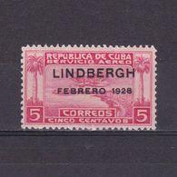 CUBA 1928, Mi# 68, Lindbergh's Flight Overprint, MH - Ungebraucht