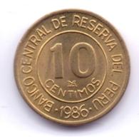 PERU 1986: 10 Centimos, KM 293 - Pérou