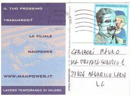 2019 TARIFFA B RUGGIERO LEONCAVALLO SU CARTOLINA PUBBLICITARIA MANPOWER - 1946-.. République