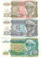 Zaire Lot Set 1 New Likuta / 5 New Makuta 24/06/1993 & 50 Zaires 30/06/1988 - Zaire
