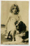 CHIENS 211 CARTE PHOTO Fillette Et Son Chien Saint Bernard écrite 1902 NIEDER RENSDORF ? - Chiens