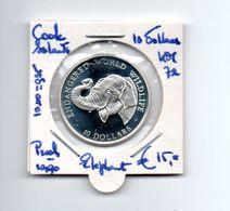 COOK ISLANDS 10 DOLLARS 1990 ZILVER PROOF ELEPHANT - Cookeilanden