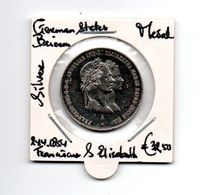 DUITSLAND GERMAN STATES MEDAL SILVER 24.4.1854 FRANCISCUS EN ELISABETH DUBBELPORTRET - [ 1] …-1871 : Duitse Staten