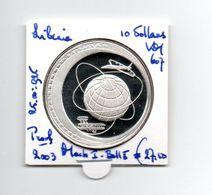 LIBERIA 10 DOLLARS 2003 ZILVER PROOF MACH I - BALL X - Liberia