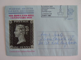 Grande Bretagne Entier Postal Air Letter Aerogramme 12p Sir Rowland Hill Cent. 1979 Cancelled 1980 London Stamp Exhib. - Entiers Postaux