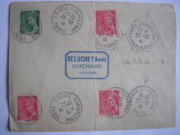 FRANCE -  Enveloppe Oblitérée Avec Cachets Rond Et Hexagonal De La France Européenne Le 27/10/1941 - A VOIR - Marcophilie (Lettres)