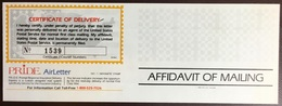 United States 1983 Pride Insurance Affidavit Of Mailing Airletter Unused - Special Delivery, Registration & Certified