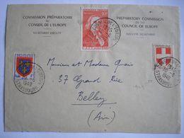 FRANCE -  Enveloppe De La Commission Préparatoire Au Conseil De L'Europe Oblitérée Le 10/08/1949 - Poststempel (Briefe)