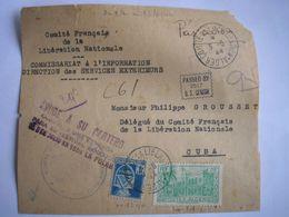 ALGERIE - Enveloppe Du Comité De La Libération D'Alger Le 3/5/1944 Expédiée à Cuba Avec Censure Américaine - Covers & Documents