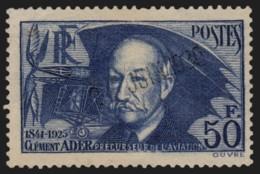 France N°398, Clément Ader 1938, 50fr Outremer, Oblitéré - TB - COTE 80 € - France