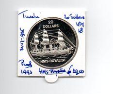 TUVALU 20 DOLLARS 1993 ZILVER PROOF HMS ROYALIST - Tuvalu