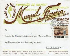 Braga , 1972 , Commercial Cover , CASA DOS PUXADORES  ,  MANUEL FERREIRA SALSA , Meteorology Stamp - 1910-... République