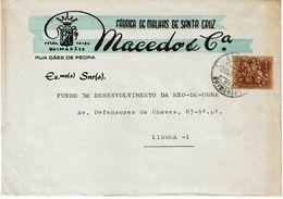 Guimarães , 1972 , Commercial Cover , MACEDO & Cª  ,  Fabrica De Malhas Santa Cruz , Medieval Knight  Stamp - 1910-... République