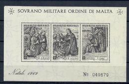 SOVRANO MILITARE ORDINE DI MALTA S.M.O.M. 1969 - NATALE FOGLIETTO NUOVO MNH ** - Malte (Ordre De)