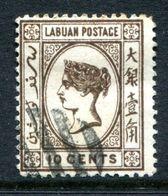 Labuan 1894 Queen Victoria - No Wmk. - 10c Brown CTO Used (SG 54) - Nordborneo (...-1963)