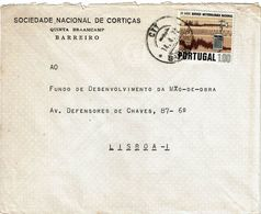 Barreiro , 1972 , Commercial Cover , SOCIEDADE NACIONAL DE CORTIÇAS ,  Cork , Meteorology Stamp - 1910-... République