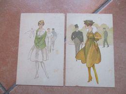 Donnine Women N.2 Differenti Moda Stile Illustratori Sigle Viaggiate 1917 Posta Militare Verifica CENSURA - Altri